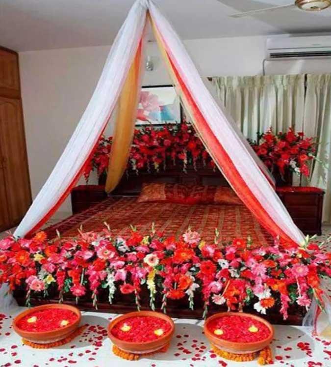 تزیین اتاق خواب عروس با رنگ های تند و آتشین