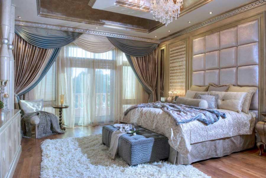 اتاق خواب لاکچری با تاج تخت خواب لمسه دار مربعی