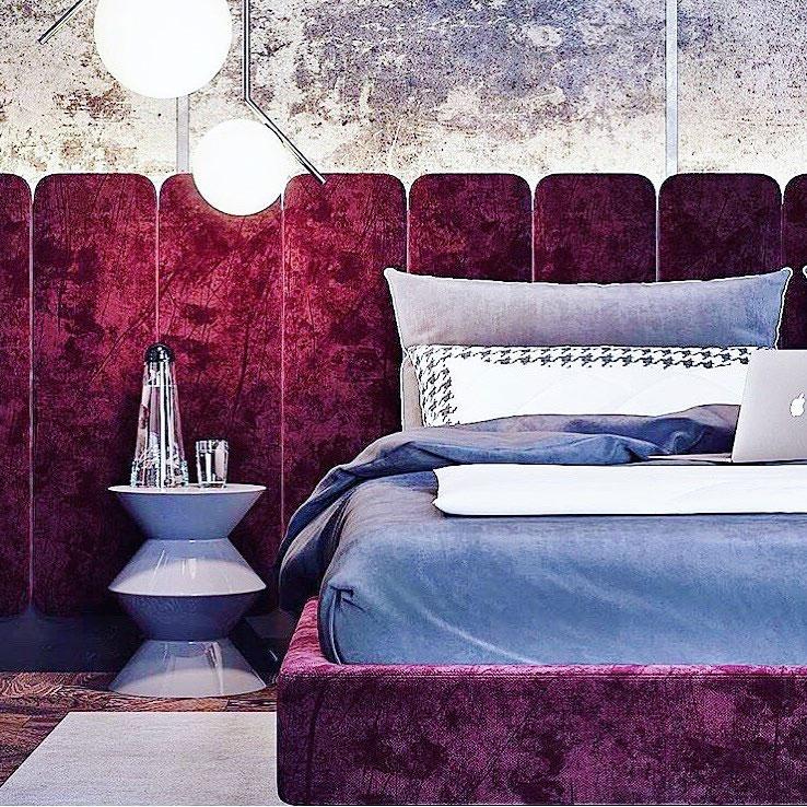 تخت خواب پارچه ای با تاج لمسه دار با طرح پانل های عمودی