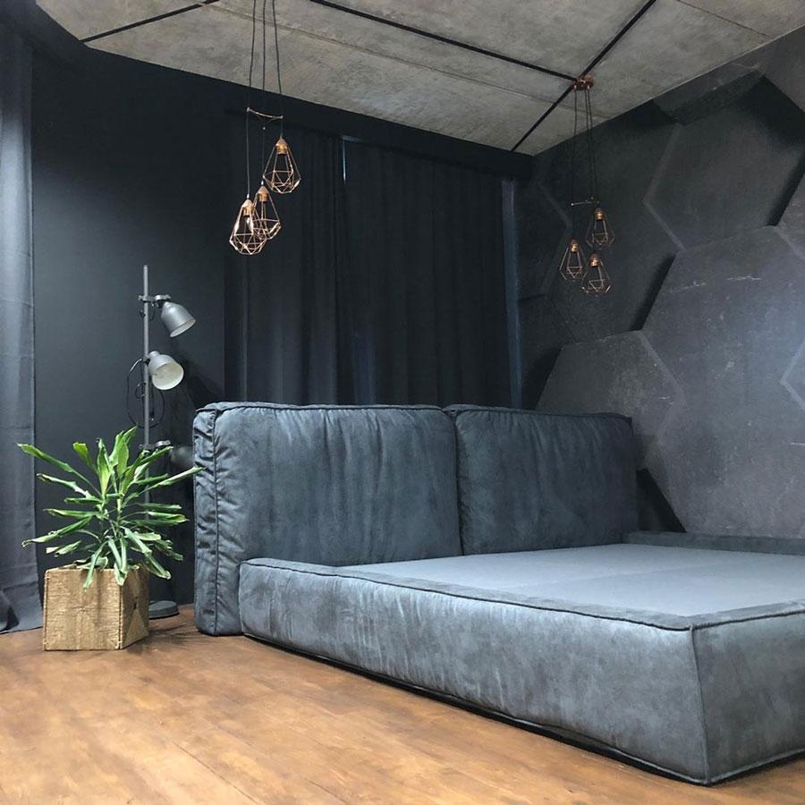 تخت خواب پارچه ای در اتاق خواب طراحی شده به سبک مدرن