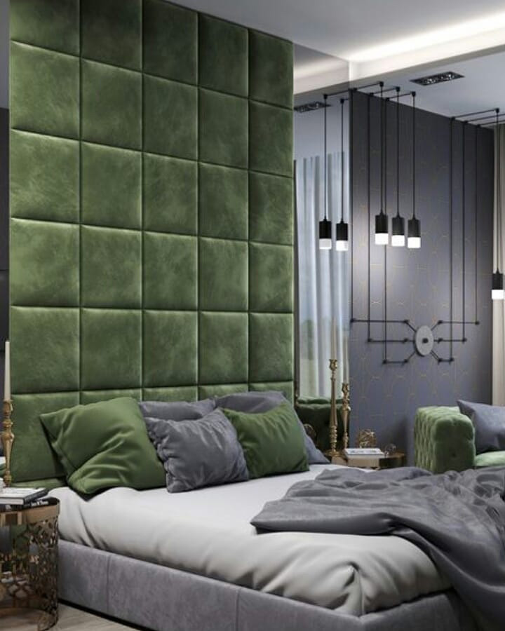 تخت خواب مدرن با تاج لمسه دار پارچه ای با طرح مربع