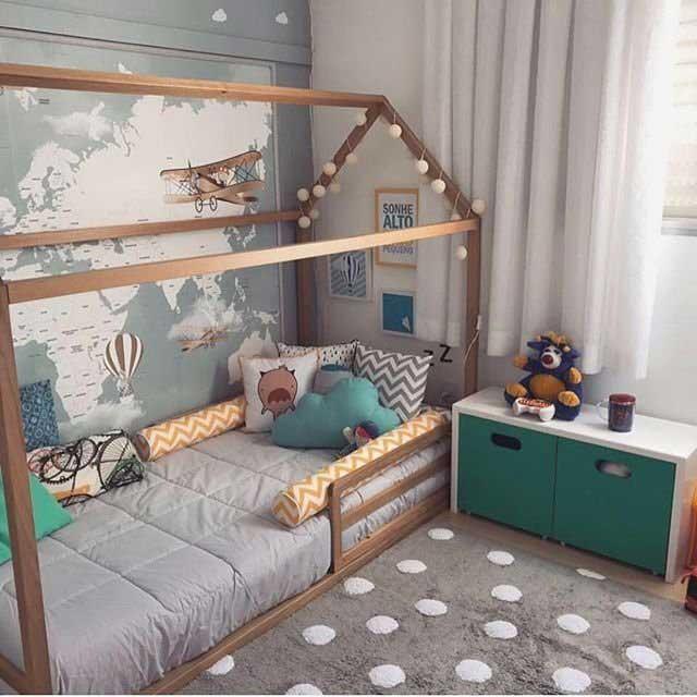 تخت خواب کودک به شکل خانه چوبی