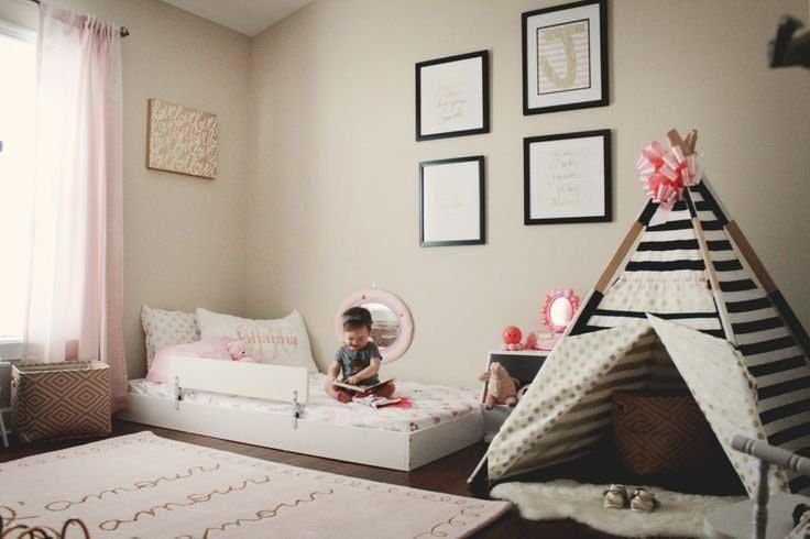اتاق خواب پسربچه با فضای بازی به شکل چادر سرخ پوستی