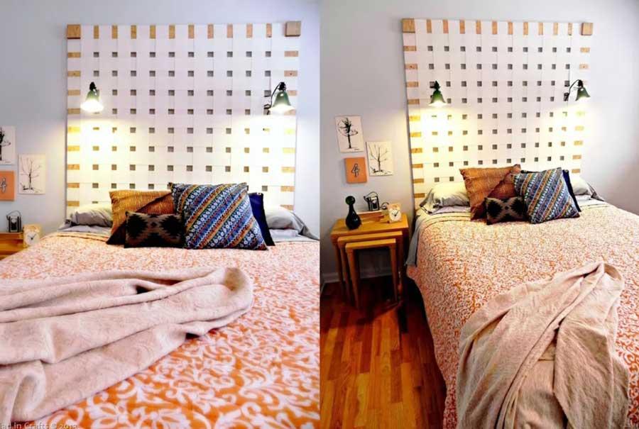 تاج تخت خواب از چرم در هم بافته