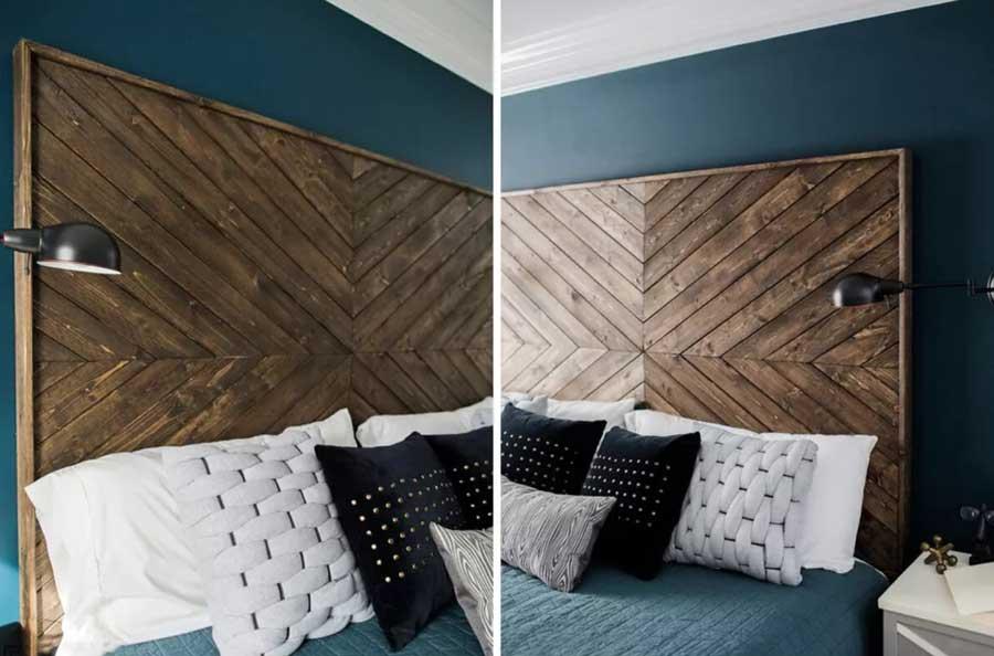 تاج تخت خواب چوبی جناغی شکل