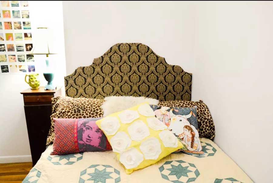 تاج تخت خواب با پارچه و مقوا