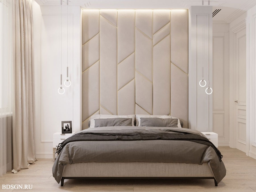 تاکید بر تاج لمسه کوبی شده و چرمی تخت خواب در طراحی دکوراسیون اتاق خواب